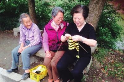 柏阿姨教老人织毛衣
