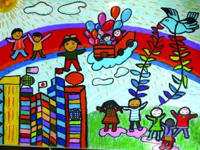 美丽校园儿童画